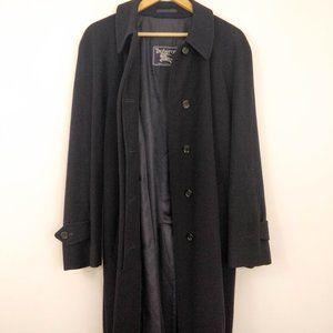 Vintage Burberry Black Cashmere Duster Coat 14